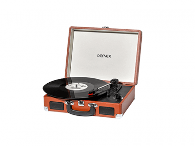 BELLEVUE Portable Record Player 20LP brown